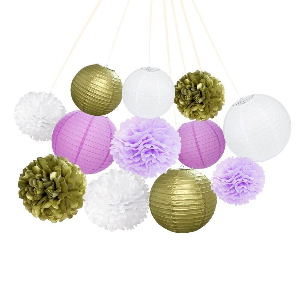 ce8fee81330c Get Quotations · ARDUX 12Pcs lot Chinese Paper Lanterns + Paper Flowers  Decor for Fiesta Anniversary Birthday Wedding