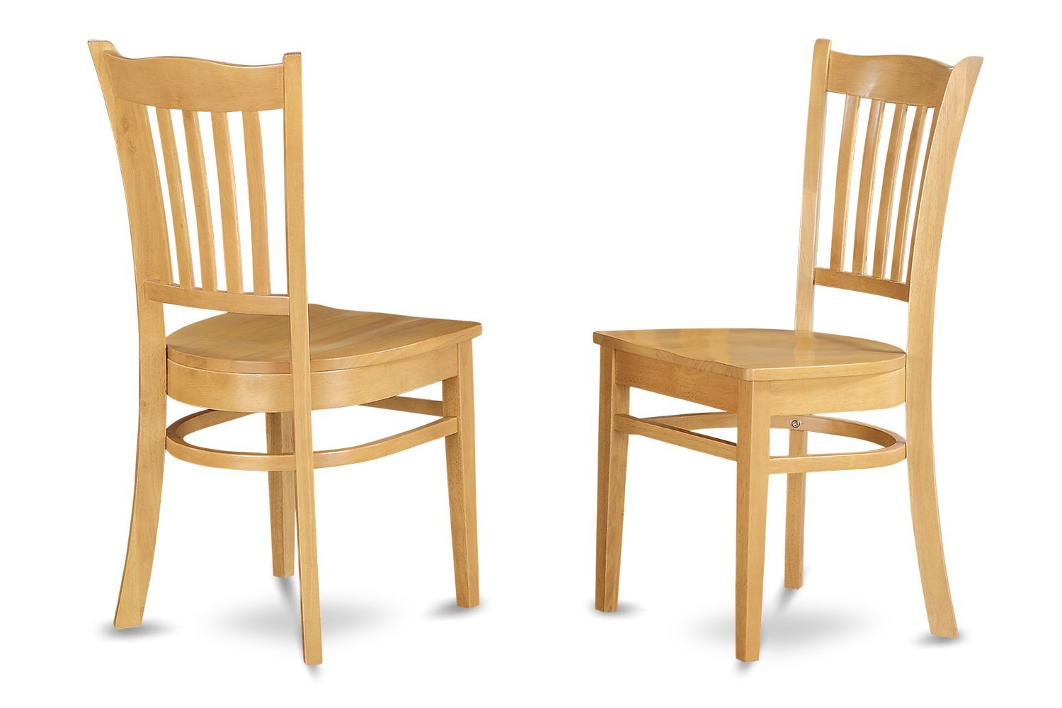 East West Furniture GRC-Oak-W Dining Chair Set with Wood Seat, Oak Finish, Set of 2