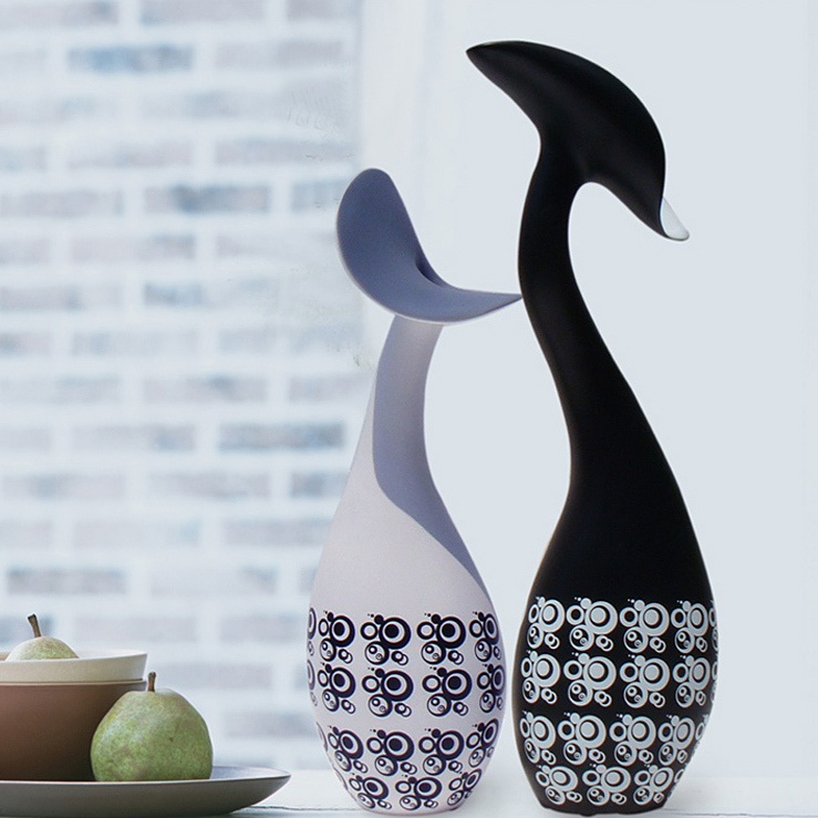 modern home furnishings decoration ceramic crafts creative minimalist ceramic abstract white black porcealian ornaments