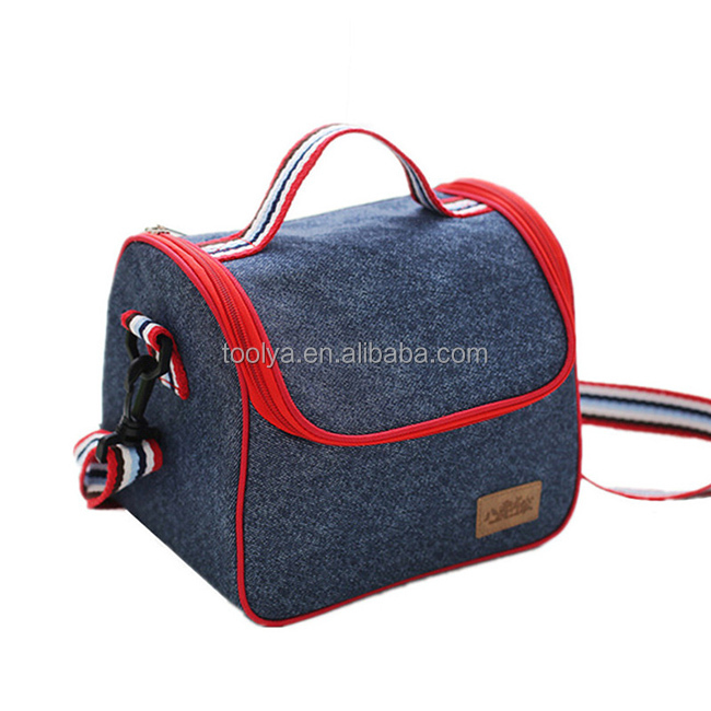 Denim Shoulder Ice Cooler Lunch Bag For Women Kid Picnic Insulated Pack Drink Food Thermal
