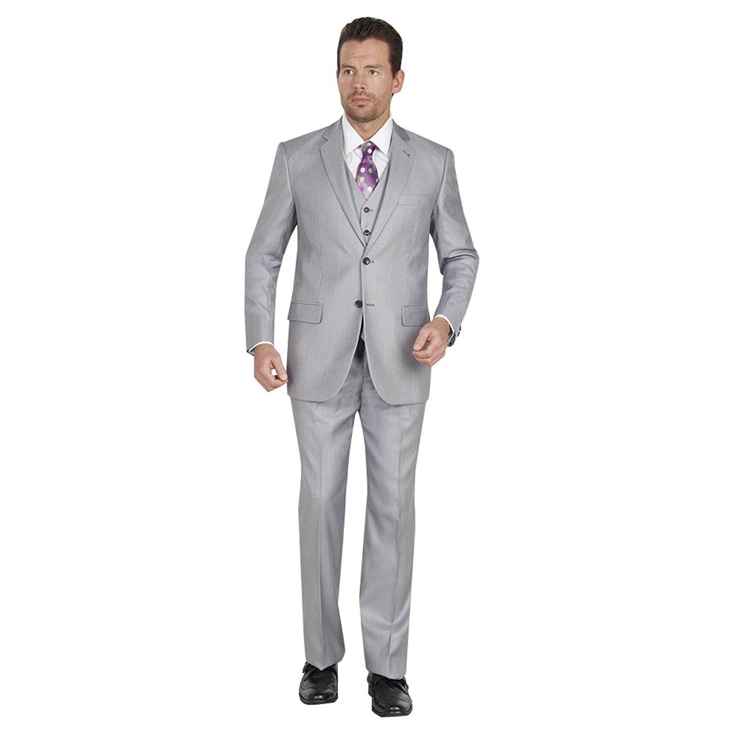TAZIO Mens 2 Button 3 Piece Modern Fit Suit