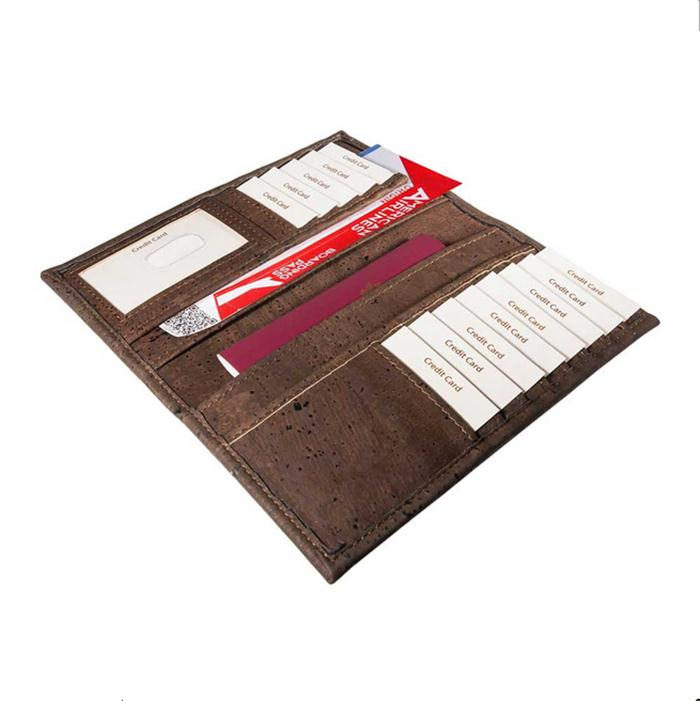 Eco green leather purse cork passport wallet with rfid and card holders