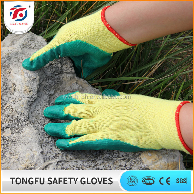 building worker use anti-slip cotton latex safety gloves