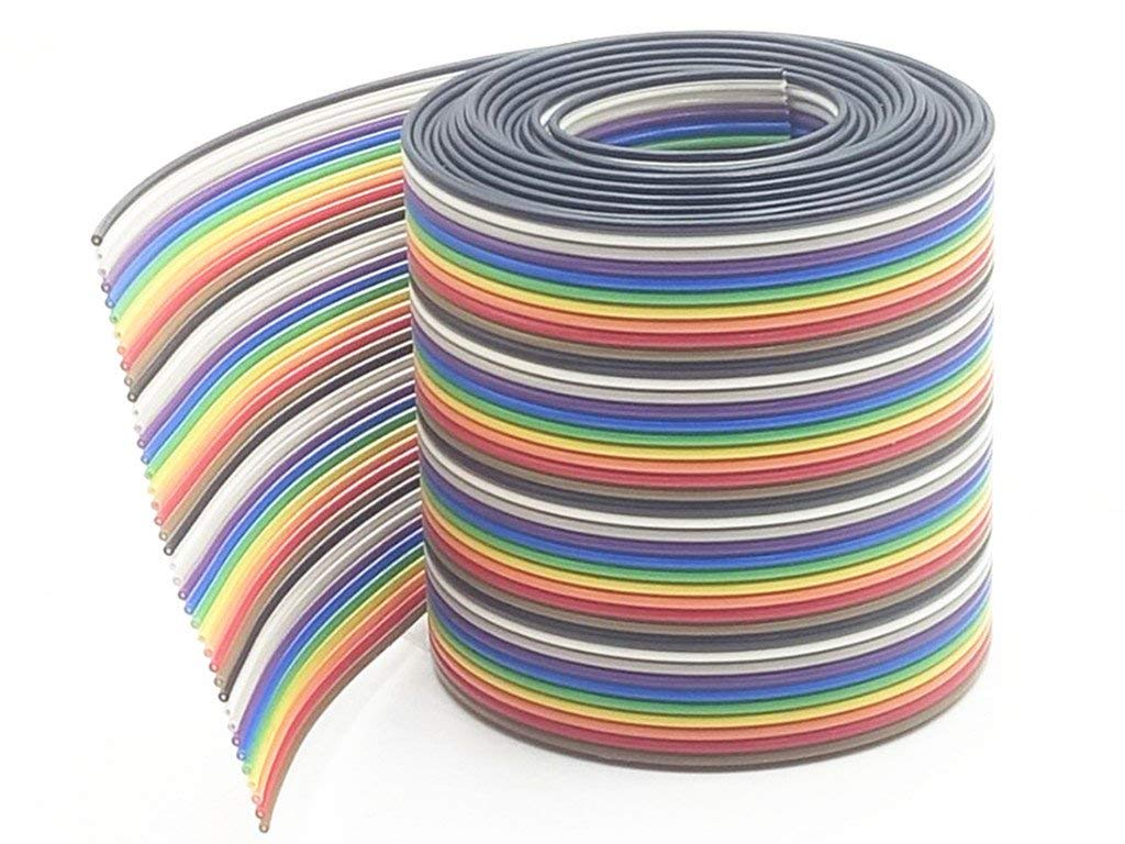 2 Meter 6.6ft 16/20/26/40 Way 40 pin Flat Color Rainbow Ribbon IDC Cable Wire Rainbow Cable (40 Pin)
