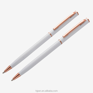 Haojun private label wedding gift gold parts white twist elegant slim metal pen