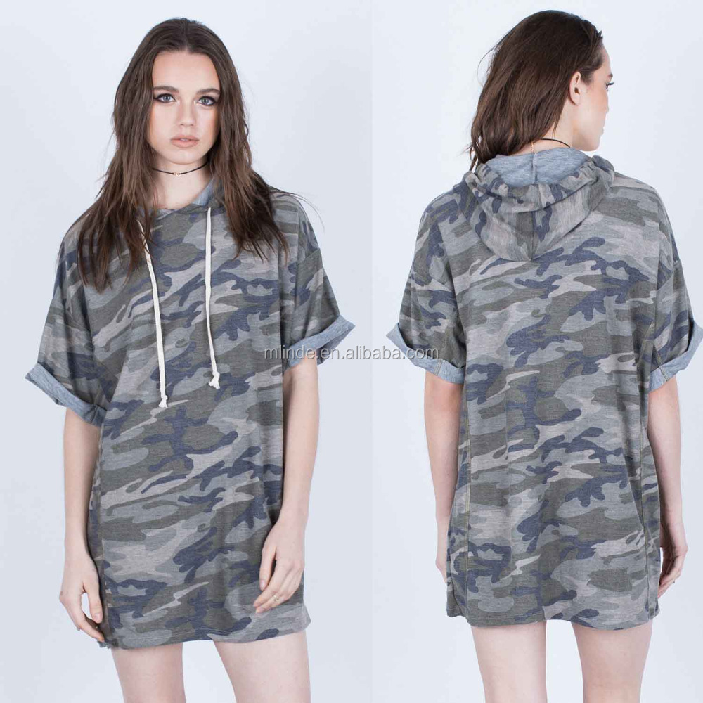 Korean Clothing Women Polyester Rayon Spandex Short Cuffed Sleeves Drawstring Private Label Camo Hoodie Dress For Summer 2017