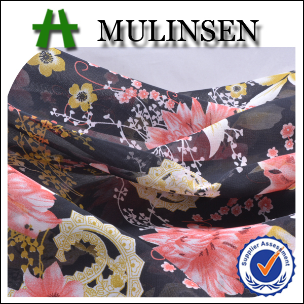 Mulinsen Textile Hot Sell Cheap Woven 100D Custom Printed Polyester Dubai Chiffon Fabric