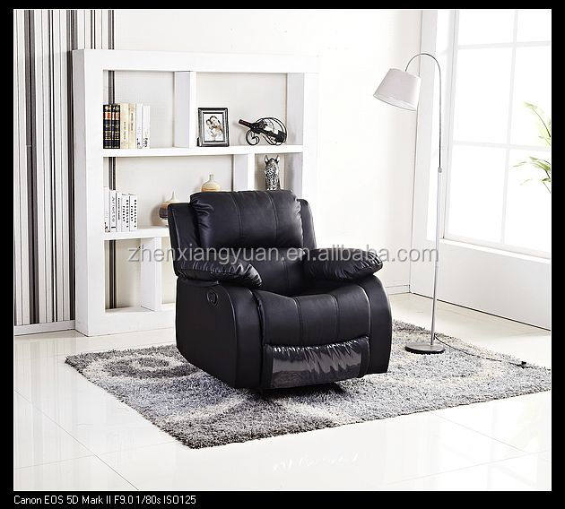 2017 home furniture black leather recliner chair Lazy boy swivel arm chair