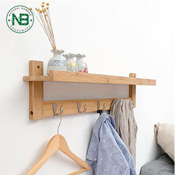 Bamboo Wall Shelf Coat Hook Rack