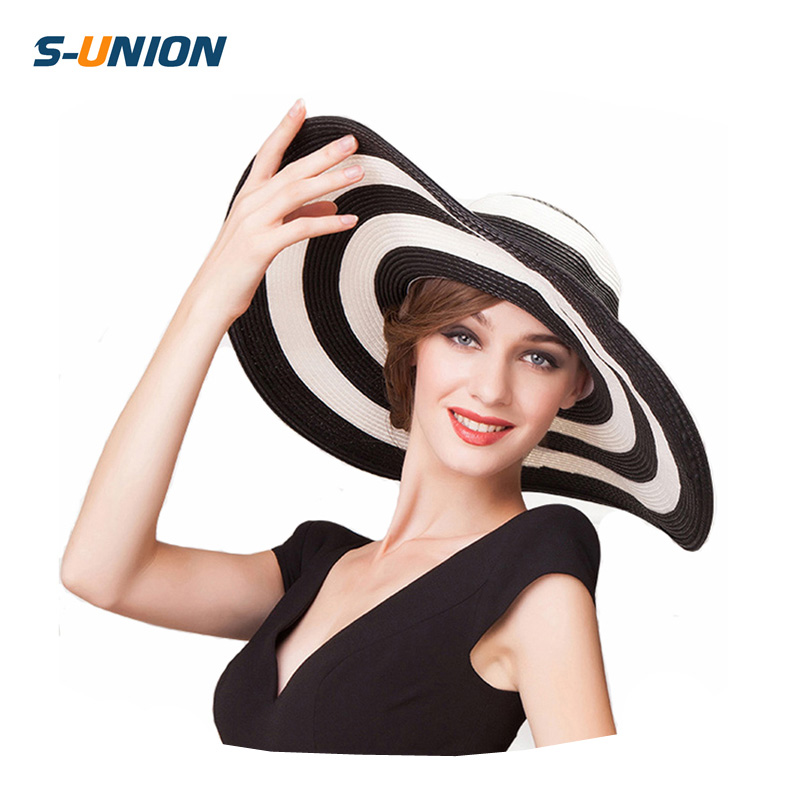 ee35b2fac0d75 S-UNION new fashion summer large brim beach sun ladies hats womens black  and white stripes floppy straw hat