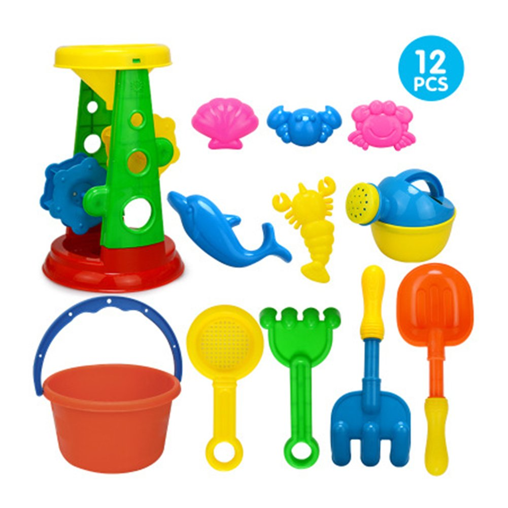 PiXiu-XP 12 Piece Kids Beach Sand Toys Set with Bucket, Sand Wheel, Watering Can, Shovel, Rakes, Sand Sifter and 5 Sea Creatures Molds for Babies and Toddlers