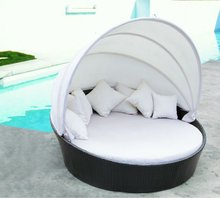 Outdoor Rattan Wicker Round Sofa Bed with Tent