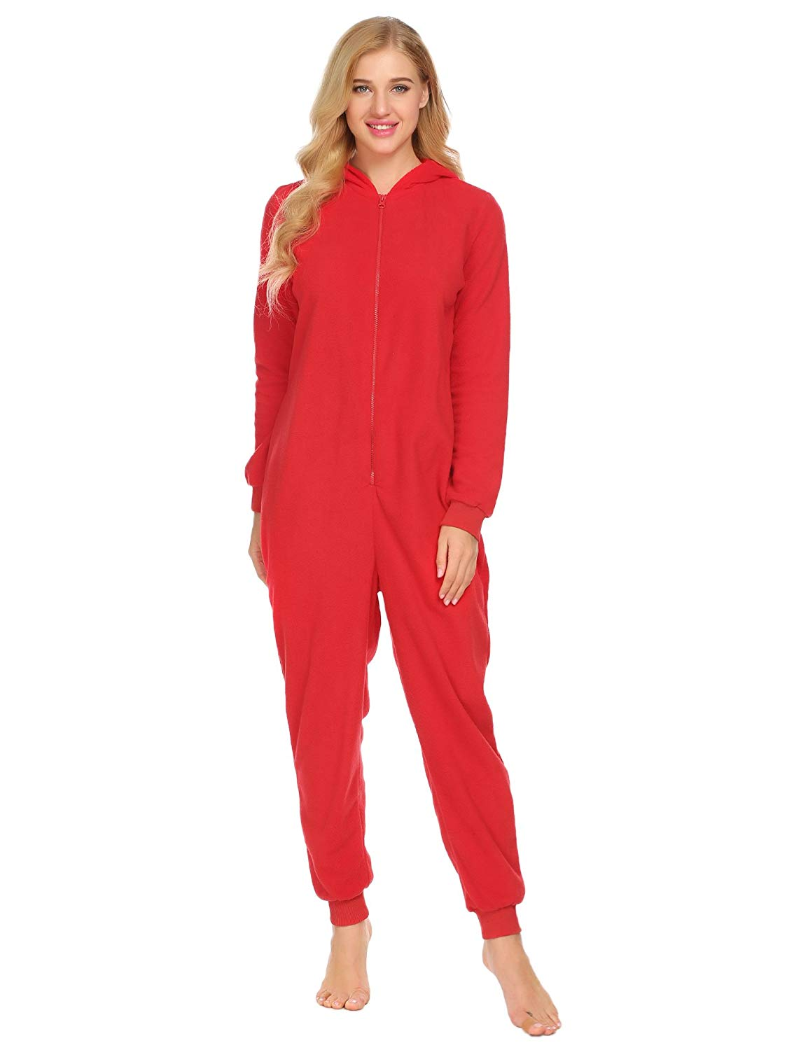 Get Quotations · L amore Women Onesie Pajamas Long Sleeve Hooded Solid  Fleece Playsuit Nightwear Jumpsuit for Winter 0c2b0b948
