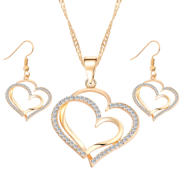 Gold Plated Crystals Heart Pendant Necklace for Valentine's Day Gift of Love NS2018024