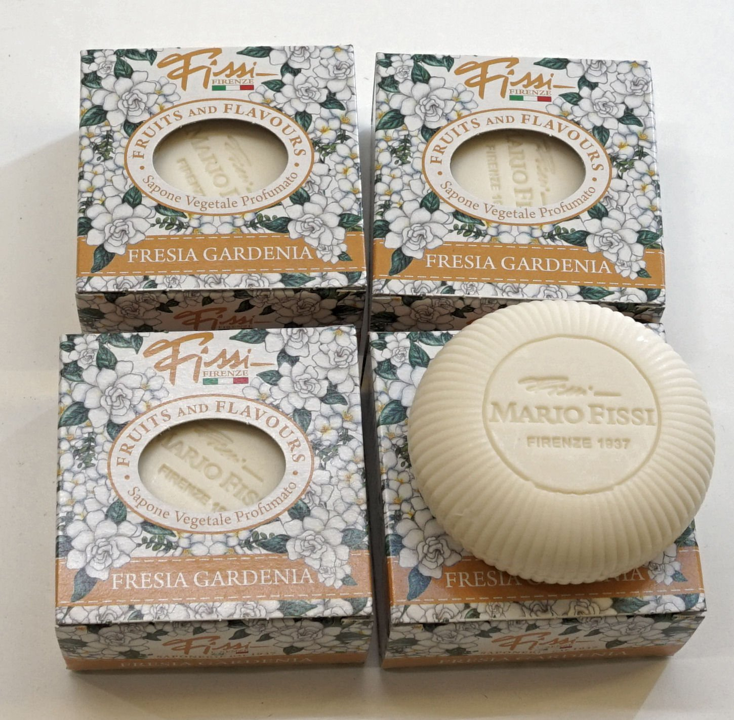 """Saponerie Mario Fissi: """"Fresia Gardenia"""" Perfumed Vegetal Soap, Freesia and Gardenia Scent, """"Fruits and Flavours"""" Line 3.5 Ounce (100g) Package Pack of 4 [ Italian Import ]"""