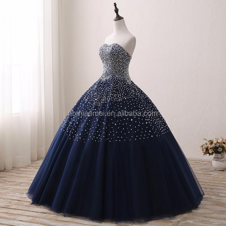 2017 Desain Baru Warna Biru Bridal Gaun Sequin Dan Berlian Dihiasi