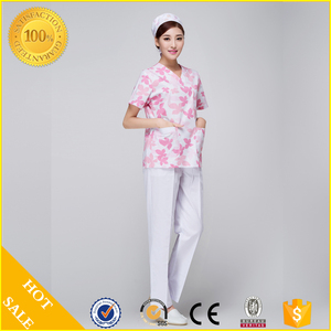 Fashion printed Medical Scrub hospital nurse uniforms with nice maple leaf printing