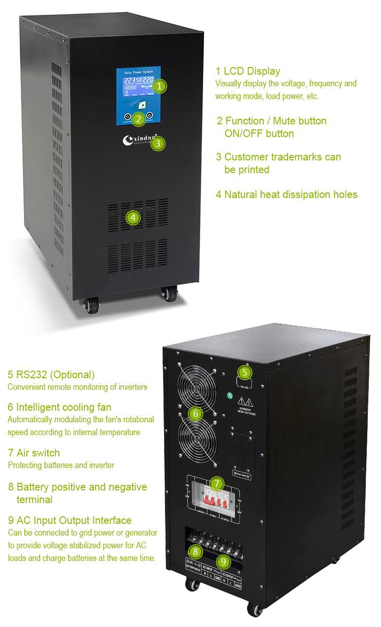 Fiyat 12 v 220 v saf sinüs dalgası güneş dönüştürücü 7000 watt 4000 w 8000 w 1000 w 3000 w invertörler 10kva dahili denetleyici ile satılık