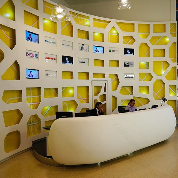 modern hotel design white artificial stone office reception bar desk - Hotel Reception Desk Design