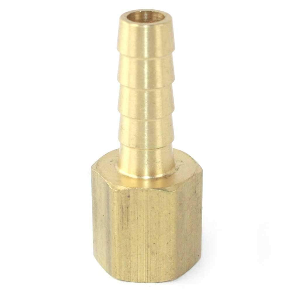Interstate Pneumatics FF45 Brass Hose Fitting, Connector, 5/16 Inch Barb x 1/4 Inch Female NPT End