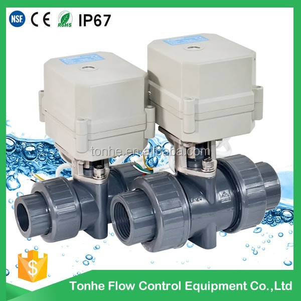 2016 D25 plastic PVC toilet shut off electric ball valve wholesale