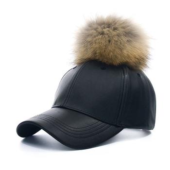 f9e9db80c0 Myfur Wholesale Colors Winter Leather Pom Baseball Cap With Fur Pom Pom