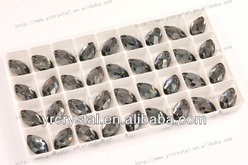 Navette black diamond color silver foiling flatback sew on jevelry stones