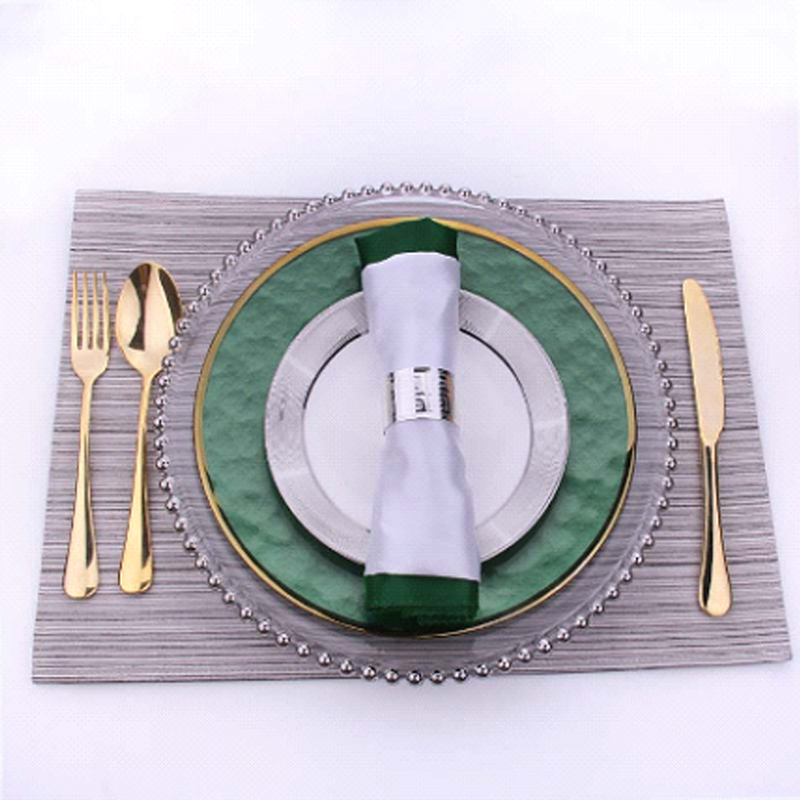 Decoration green glass crystal disposable dinner charger beaded plates