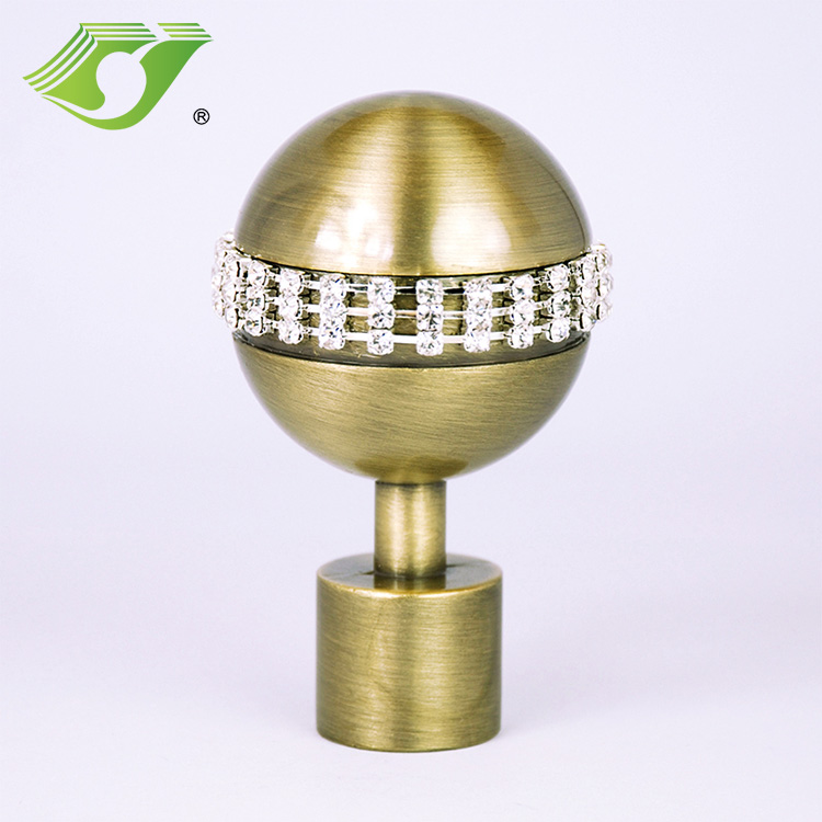 Stardeco Zinc Curtain Rod Set Finials for Window Aluminium Plastic Accessories Wholesale Parts Curtain Pole End Caps