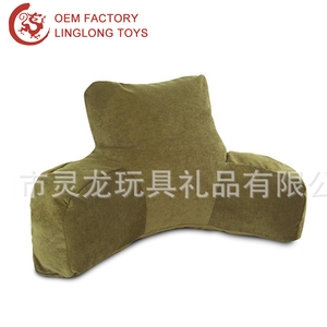 Custom Logo Plush Office Back Cushion For Sofa Rest Back Stuffed Reading Pillow With Arms T Shape Lumbar Reading Pillow