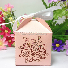 Best selling cute wedding gift &packing box OEM souvenir bridal favor laser cutting flower candy box