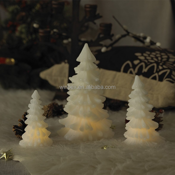 battery operated led christmas tree shaped wax candles