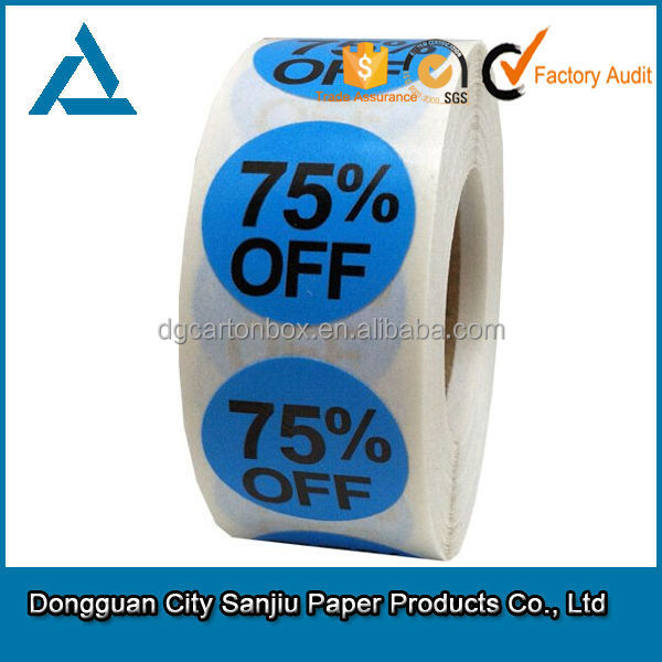 customized 75% Off Sale Retail Round adhesive Pricing Label sticker