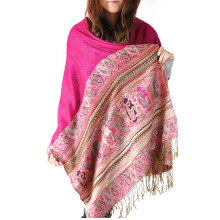 Classic Look Apis Florea Colorful Jacquard Pashmina Shawls For Indian People