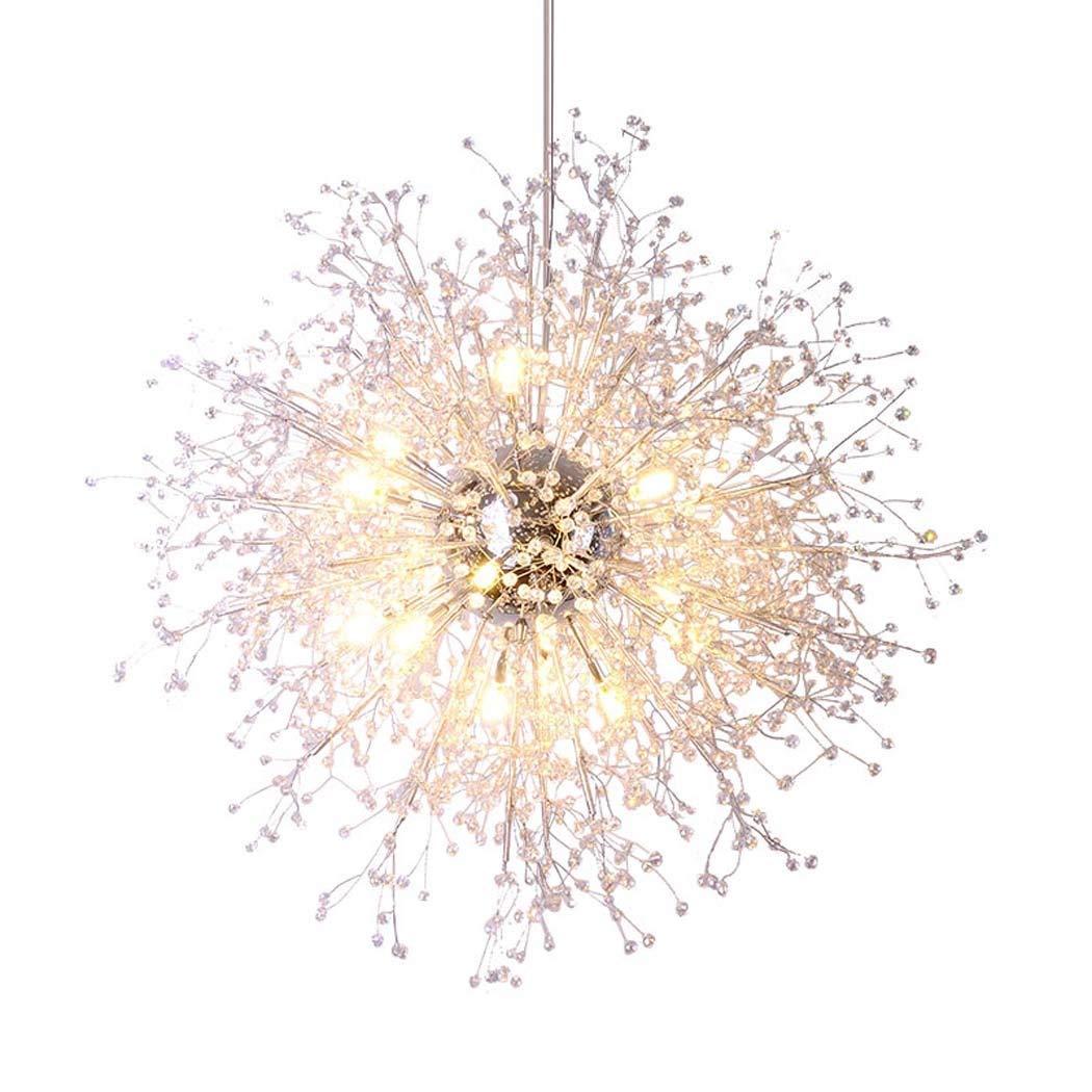 Nianle Crystal Pendant Lamp, Modern Fashion Simple Dandelion Chandelier, Creative Personality Art Living Room Dining Room Bedroom Eye Protection LED Pendant Lights (Size : Warm White-90cm)