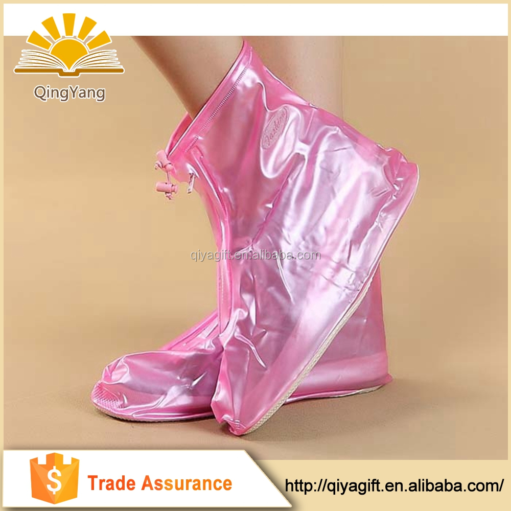 Customized unisex clear rain boots pvc plastic anti-slip shoe covers