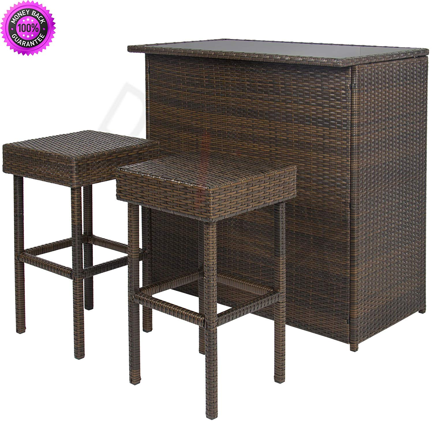 DzVeX 3PC Wicker Bar Set Patio Outdoor Backyard Table & 2 Stools Rattan Furniture And patio furniture clearance sale patio furniture sets patio furniture lowes discount outdoor furniture patio