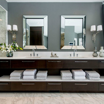 Solid Wood Oak Double Sink American Style Vanity Furniture In Bathroom