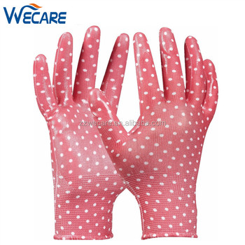 Thorn Proof Protection Outdoor Rose Pick Nitrile Palm Coated Women Garden  Gloves