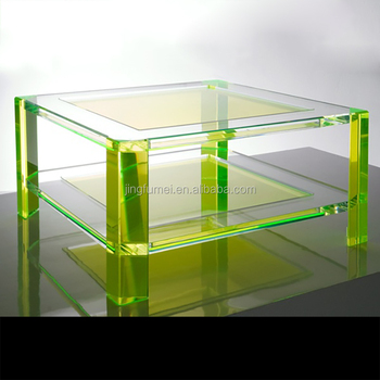 Custom Color Small Square Coffee Table Acrylic Aquarium Table With