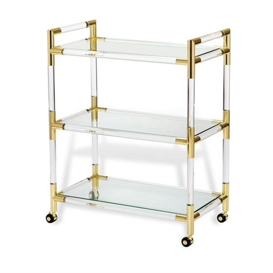 Clear Lucite Serving Trolley Cart,Three Tiers Hotel Trolley,Acrylic Tea Serving Trolley