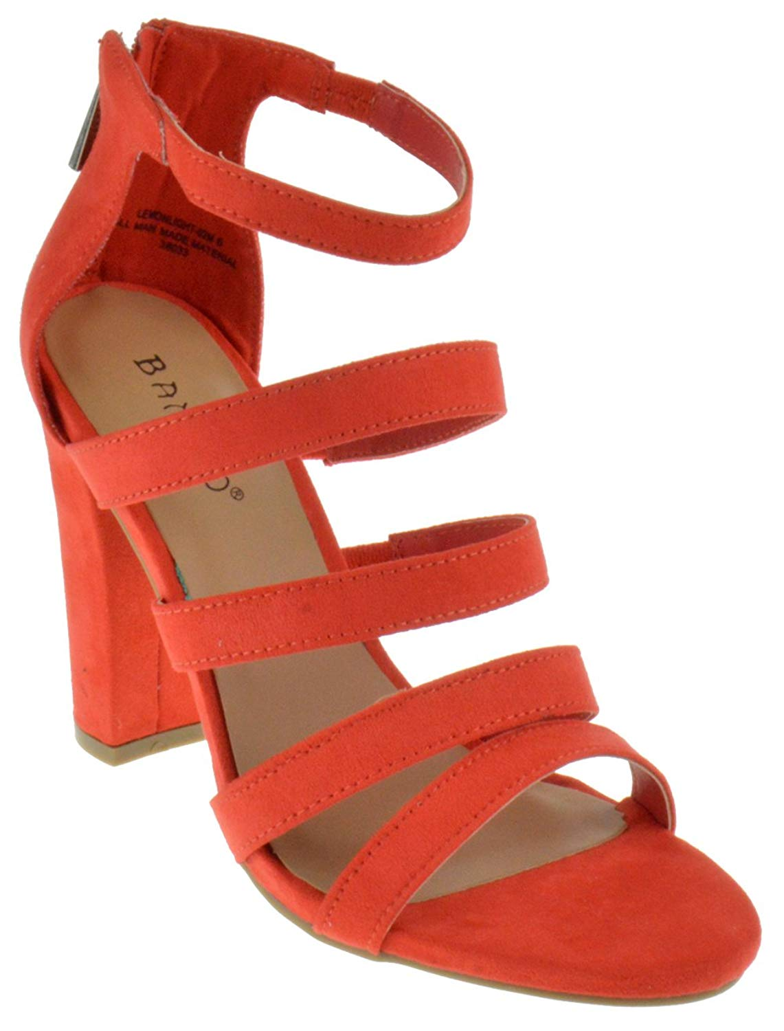 2304aa0d9 Style Fashion. Occasion Casual Shirts. Get Quotations · Bamboo Lemonlight  02 M Womens Strappy Chunky Heeled Gladiator Sandals Orange Suede 8