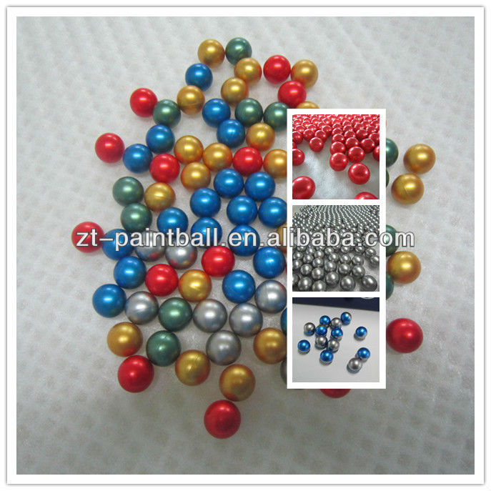 0.68 caliber colorful paintball balls bullets in the paintball gun
