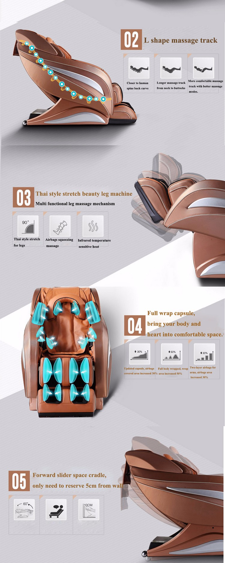 Intelligent Height Adaptation Body Care Massage Chair With Air Pump