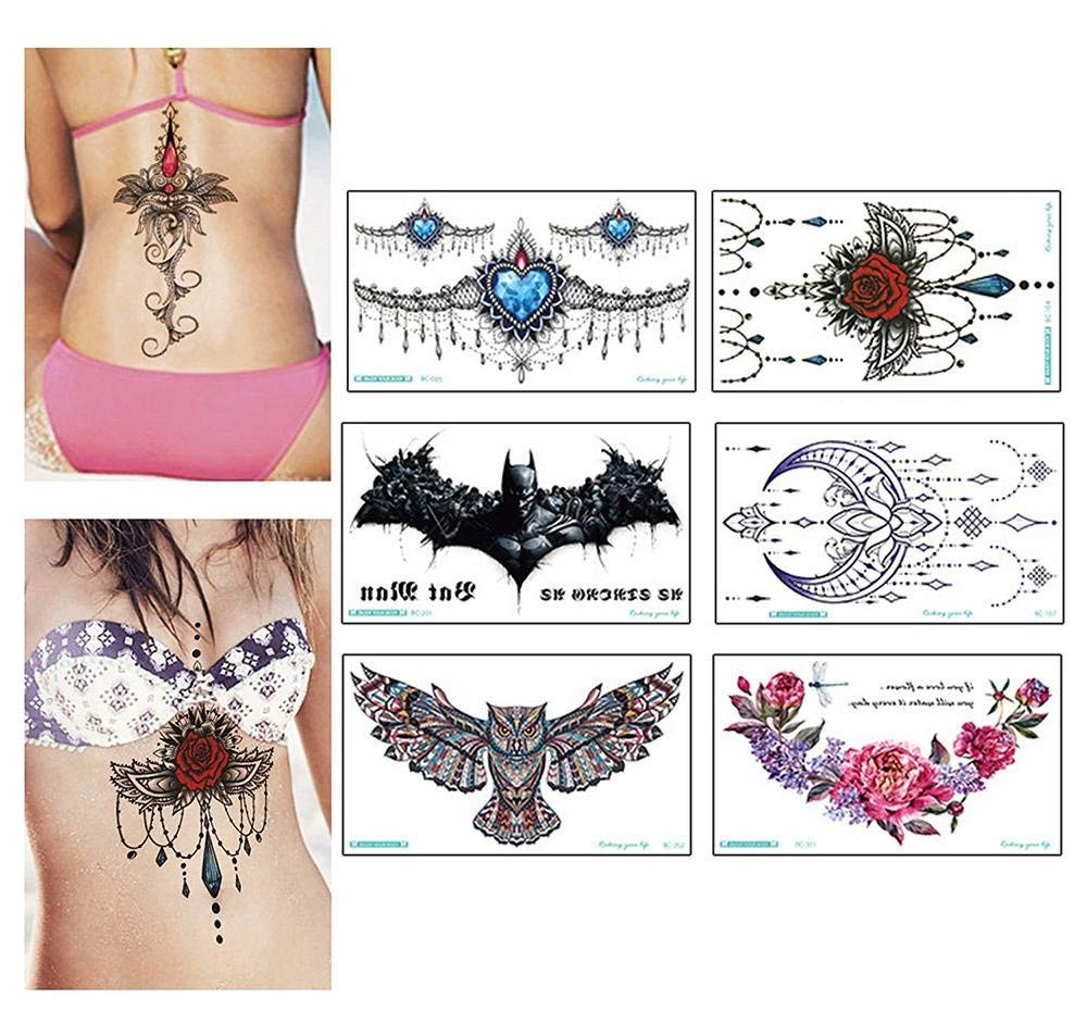 cd24b86fa Temporary Tattoo, Leegoal 6 Pack [2018 Fashion] Large Waterproof Temporary  Tattoos Non-toxic Fake Tattoo Art Stickers Cover Up Set for Body Face Arms  ...