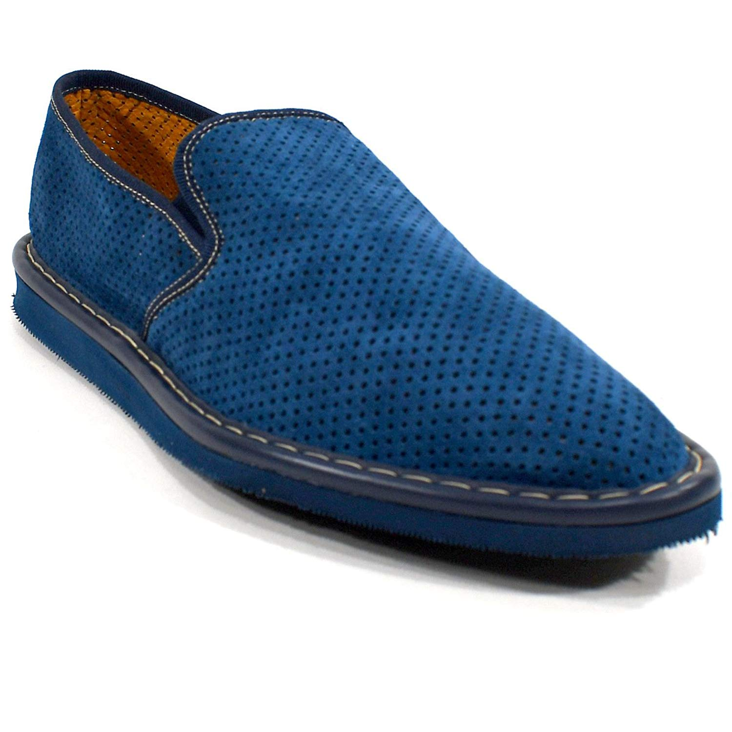 583d4d23f45 Get Quotations · BALDININI Men s Blue Soft Suede Flats Summer Loafers