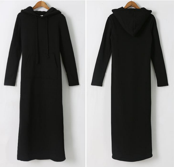 Autumn winter wear han version long stylethin thickened coat students hooded jacket hooded women's dress