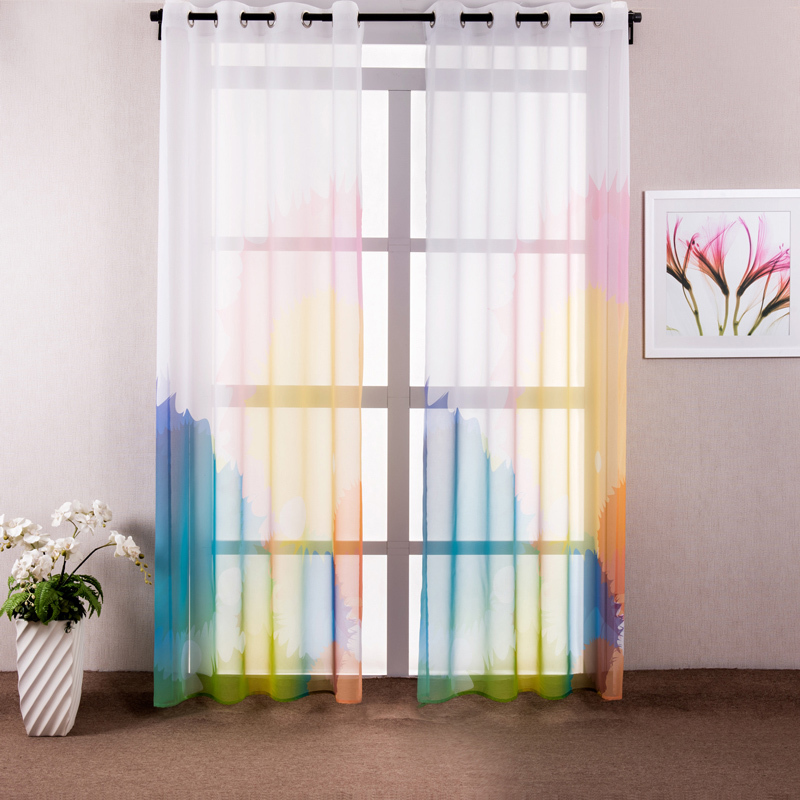 Colorful Living Room Curtains: White-Window-Curtain-Living-Room-Printed-Colorful-Kids