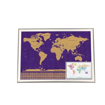 Large Size Gold Foil Layer Finishing Scratch Off America Map With Frame