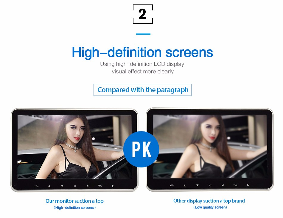 Pad Model Touch Key 10.1 inch hd 1080p headrest monitors